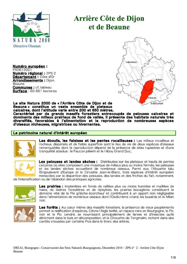 Natura 2000 ZPS Arrière Côte de Dijon et de Beaune - extrait1
